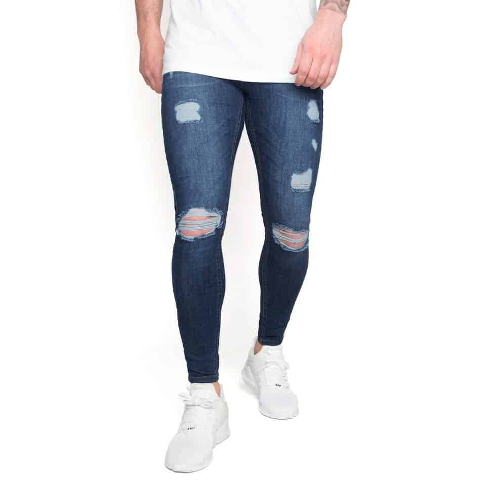 a940b24c6781 Nimes Super Skinny Spray on Jeans – Ripped and Repaired – Midnight Blue