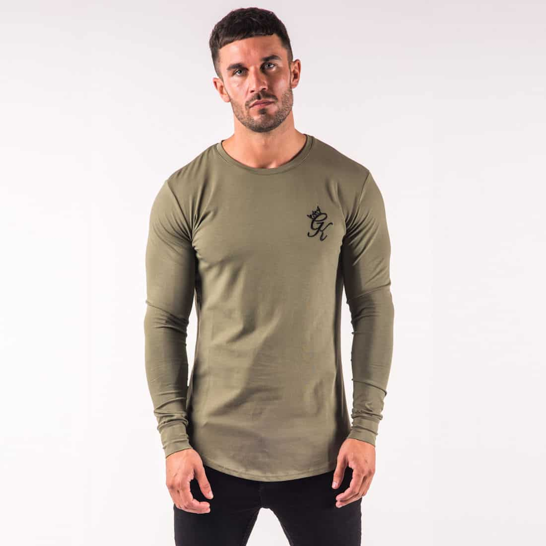 Gym king long sleeve fitted t shirt burnt olive lost for Long sleeve fitted tee shirt