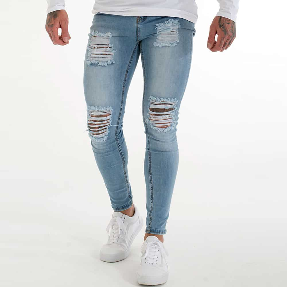 0b55c81255c Sinners Ripped & Repaired Jeans – Light Blue Wash