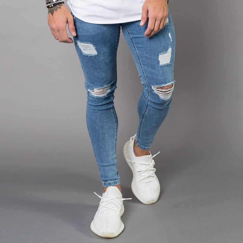 25f6581a199 Nimes Super Skinny Spray on Jeans – Ripped & Repaired – Light Blue
