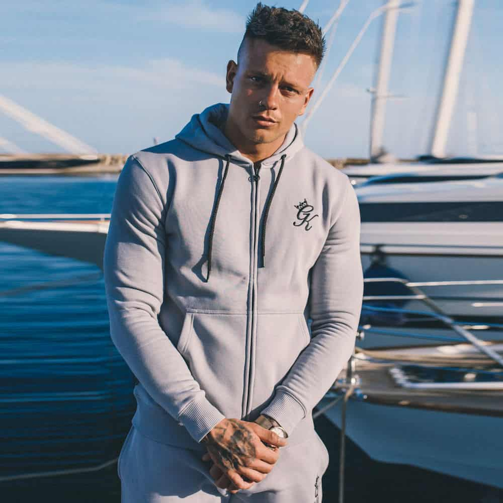 Gym King Tracksuit Zipped Hoodie Drizzle Grey
