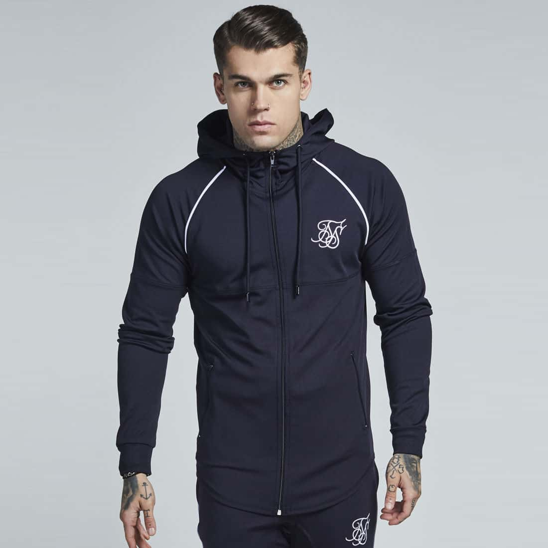 0f22ee83c3 Sik Silk Zonal Poly Tracksuit Zipped Hoodie - Navy & White