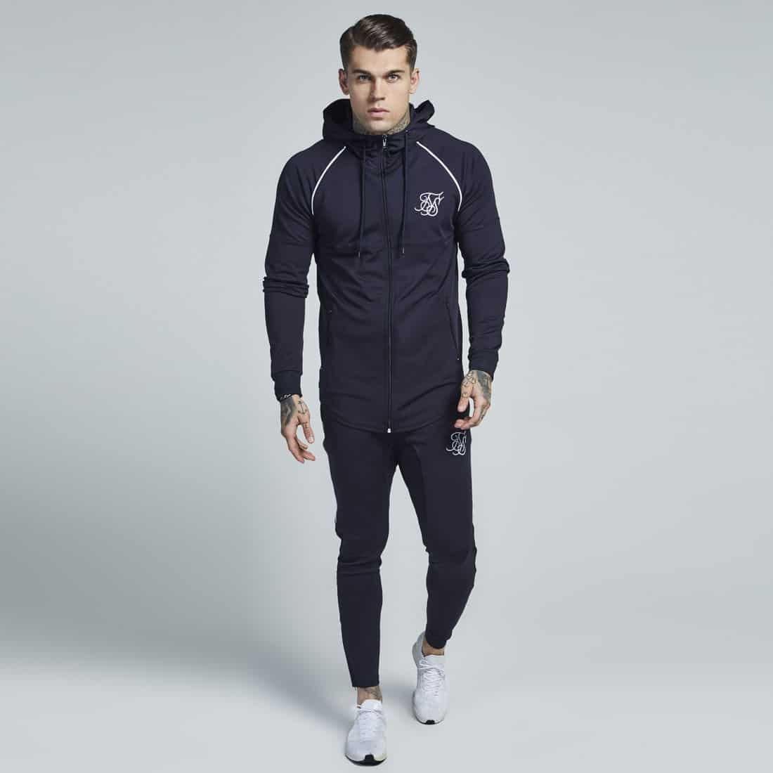 4475832e475a Sik Silk Zonal Poly Tracksuit Zipped Hoodie - Navy   White