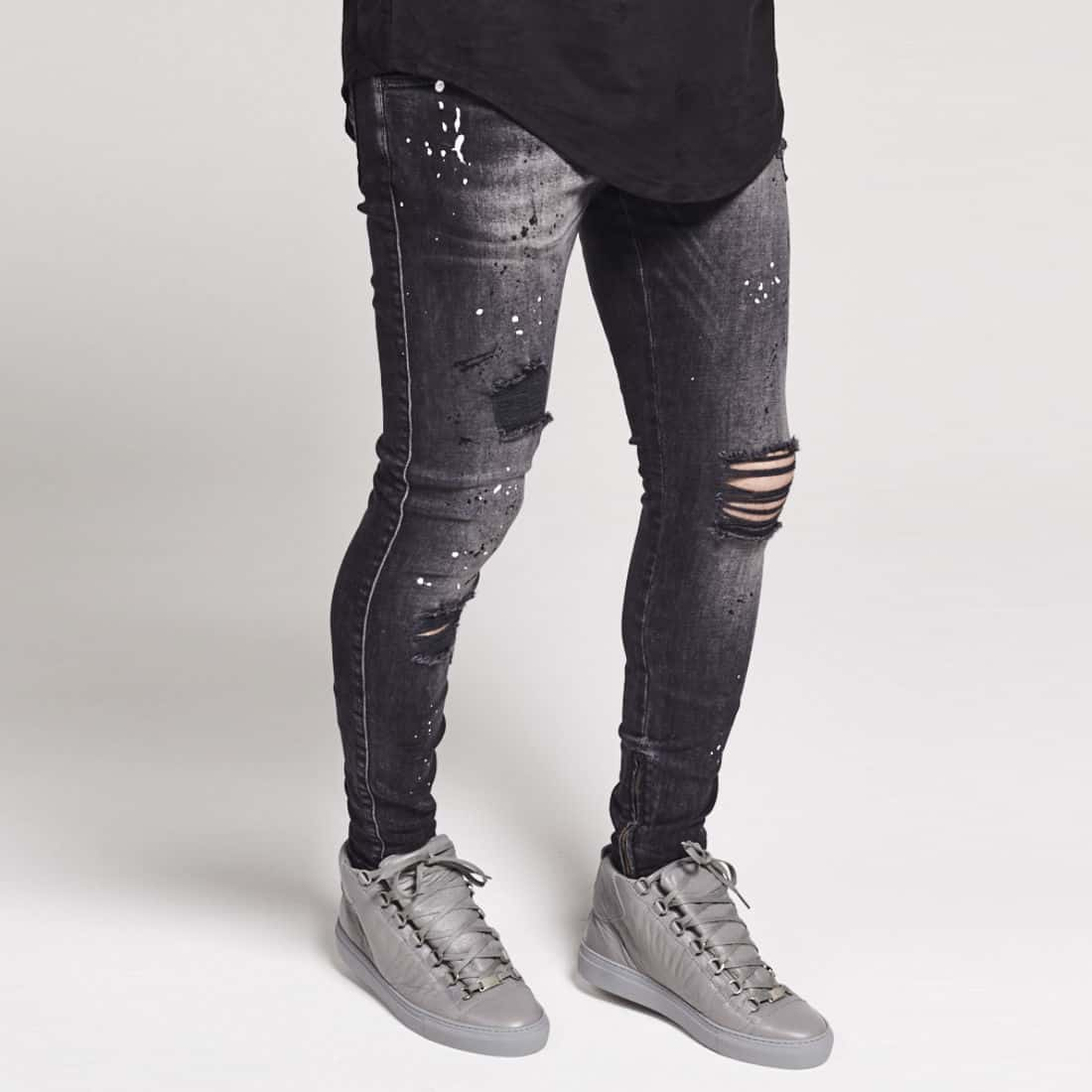 fefb6a71b60 Sik Silk Riot Low Rise Skinny Ripped Jeans – Washed Black