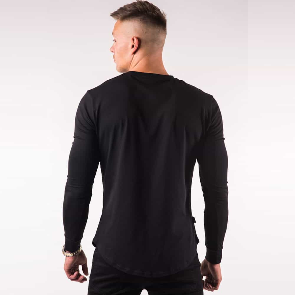 Gym king long sleeve fitted t shirt black gold lost for Black fitted long sleeve t shirts