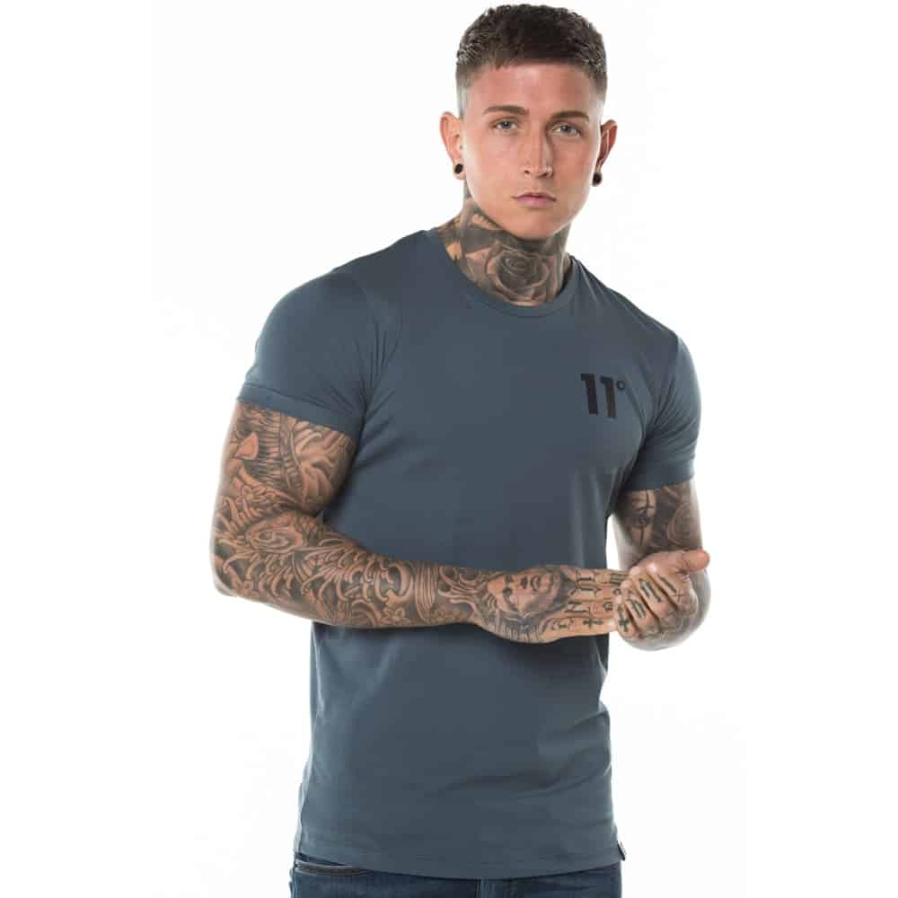 11 degrees muscle fit t shirt dark grey lost rockstar for What is a fitted t shirt