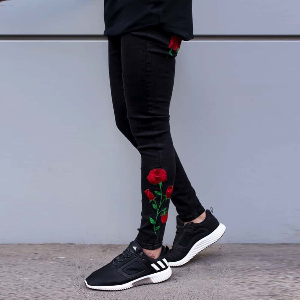 Sinners attire rose embroidered skinny jeans black