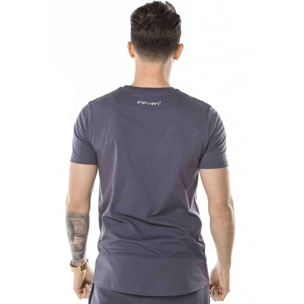 11 Degrees Core T Shirt In Heather Grey With Platinum Logo