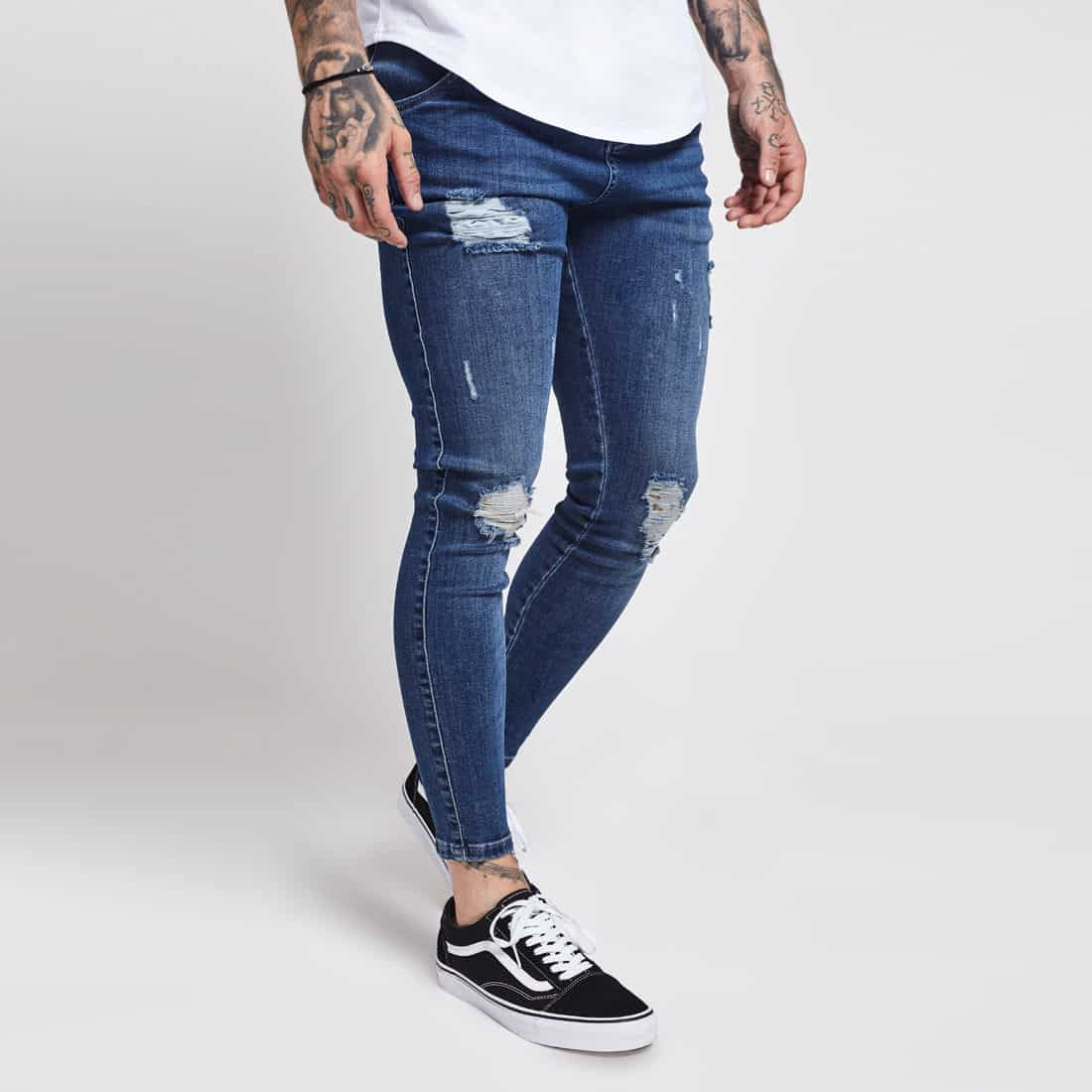 d1e65af813 Sik Silk Skinny Distressed Jeans in Midstone Blue