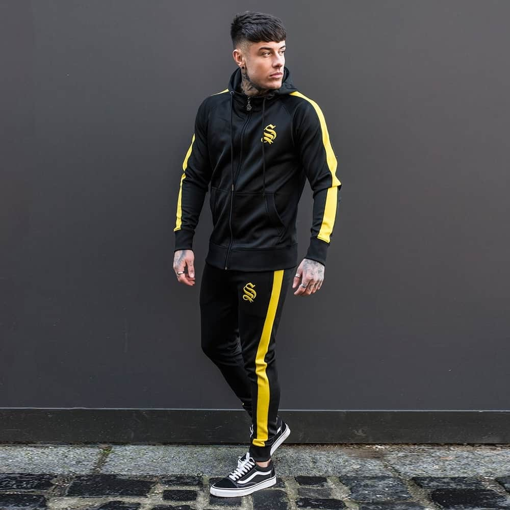 the sale of shoes hot sales huge inventory Sinners Attire Full Poly Tracksuit in Black & Yellow