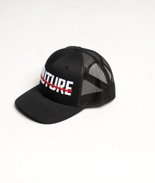 b23d595b2f2 Fresh Couture Mesh Trucker Cap in Black with Red Strikethrough Logo ...